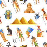 Egypt and Egyptian mythological signs seamless pattern isolated background vector. - 227226958