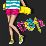 Pretty girls in tops and shorts with skateboard. Vector illustration for a postcard or a poster. Bright, colorful drawing.