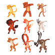 Various animals standing in dub dancing poses set, cute cartoon wild animals doing dubbing vector Illustration on a white background - 227239567