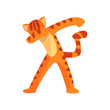 Tiger standing in dub dancing pose, cute cartoon wild animal doing dubbing vector Illustration on a white background