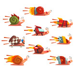 Fast snails set, funny cartoon mollusk characters with turbo rocket speed boosters vector Illustration on a white background
