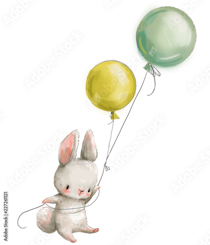 Little hare fly with balloon. - 227261121