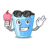 With ice cream fresh water glass in table cartoon - 227264173