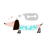Illustration with dachshund dog and bone