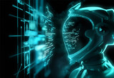 A futuristic spaceman reading programming code with it being reflected over his space helmet. Future concept. 3D illustration