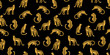 Seamless exotic pattern with abstract silhouettes of leopards. - 227267979