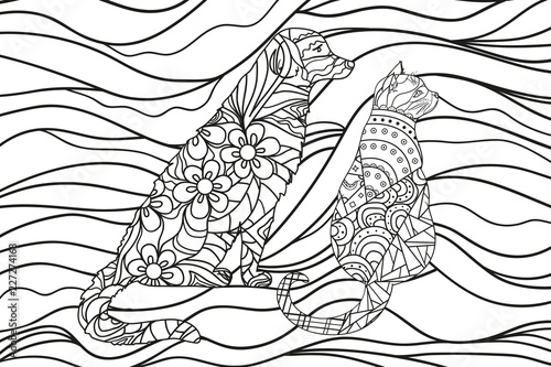 Wavy Wallpaper With Dog And Cat Zentangle Hand Drawn Ornaments