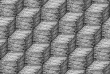 Brick steps wall pattern in black and white, Backgrounds