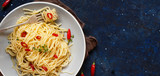 Spaghetti with garlic, olive oil and hot red pepper - 227282739