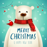Christmas Polar Bear with Red Scarf. Christmas cute animal cartoon character. - 227289157