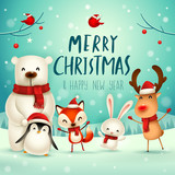Merry Christmas and Happy New Year! Christmas Cute Animals Character. Happy Christmas Companions. Polar Bear, Fox, Penguin, Bunny and Red Cardinal Bird in snow scene.
