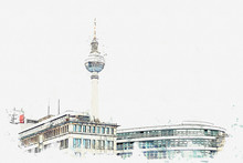"Постер, картина, фотообои ""A watercolor sketch or illustration. Berlin architecture. The television tower on the square named Alexanderplatz."""