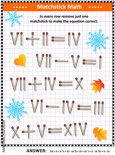 Visual math puzzle with roman numerals: In every row remove just one