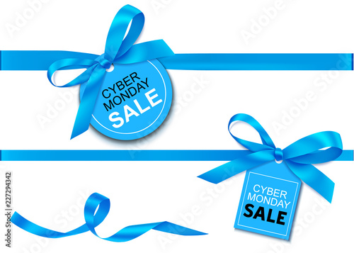 Decorative horizontal blue ribbon with bow and sale tag for cyber monday sale design. Vector decoration and label isolated on white background