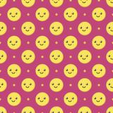 Cute cartoon smiling ball characters, emoji and stars seamless pattern background. - 227294704