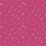 Cute dark pink, violet seamless pattern background with colorful doodle confetti, sprinkles. - 227294719