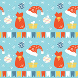 Cute seamless pattern vector background with santa hats, bags with presents, christmas balls, snowflakes and gifts for winter holidays design. - 227294752