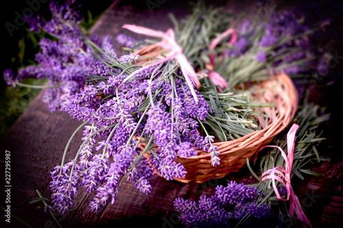 Lavender bouquet in wicker basket