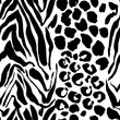 Brush painted tiger seamless pattern. Black and white leopard stripes grunge background.