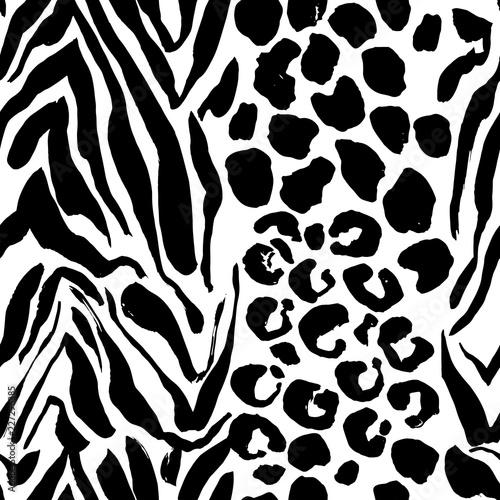 Fototapeta Brush painted tiger seamless pattern. Black and white leopard stripes grunge background.