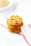 Home made butter cookies with raisins. White background. Copy space.   - 227301716