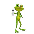 3D Illustration Frog with Flacon