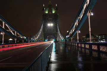 Tower Bridge in London during a cloudy winter evening. Long exposure