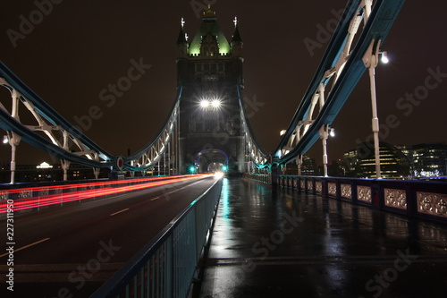 Tower Bridge in London during a cloudy winter evening. Long exposure - 227311950