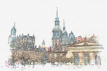 A watercolor sketch or illustration. The ancient architectural complex called the Royal Palace built in the 16th century in Dresden in Germany.