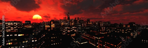 Skyscrapers at sunset, Beautiful modern city against the setting sun,