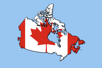 map of canada with flag. Isolated