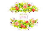 Floral frame. Wreath of spring flowers in a circle of green foliage with pink camelias and white sakura flowers. Vector illustration isolated on white background for greeting card or invitation.