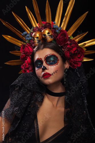 Creative image of Sugar Skull. Neon makeup for Halloween or Dia De Mertos holiday. - 227331558