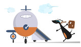 Cartoon dog in the airport illustration. Scurrying dachshund trying does not miss the flight isolated on white
