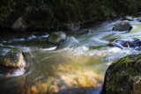 creek with stones and small stream rapids, smooth water by long time exposure, nature background with copy space - 227340573