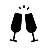 Cava Wine Bottle Glasses Party Drink Cheers vector icon - 227343773