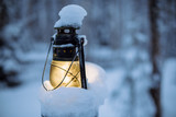 Vintage lamp in frozen forest  - 227343937