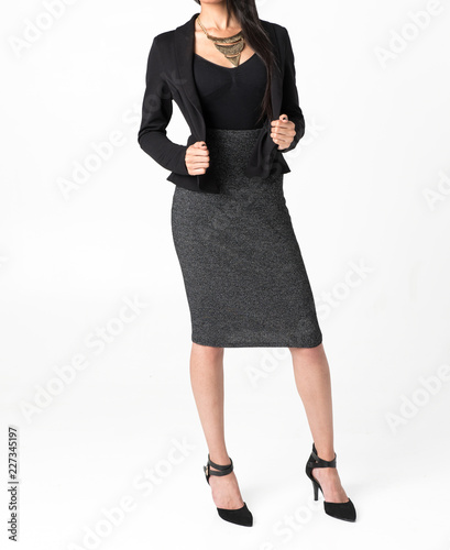 Woman in black outfit isolated on white background