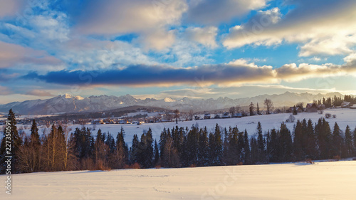 Distant Tatry mountains winter panorama