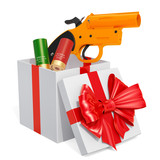 Gift concept, signal flare launcher with aerial flares inside gift box. 3D rendering