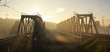 Leinwanddruck Bild - A railway bridge in the morning fog or smoke through which the rays of the sun shine