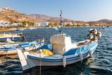 Colorful fishing boat in the port of Livadi. Serifos island, Greece - 227358550
