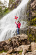 Tourist woman at waterfall Svandalsfossen, Norway - 227367174