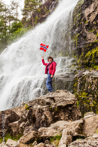 Tourist woman at waterfall Svandalsfossen, Norway - 227367174
