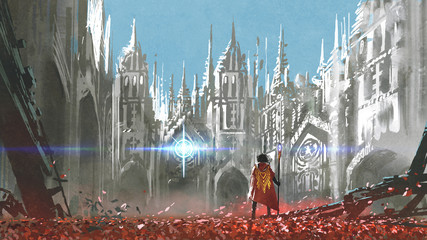 the knight looking at mysterious light in gothic buildings, digital art style, illustration painting © grandfailure