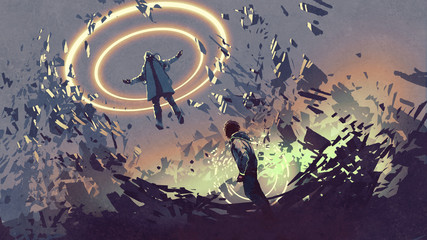 sci-fi scene showing fight of two futuristic men with magics, digital art style, illustration painting © grandfailure