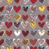 Hand drawn hearts. Vector seamless naive pattern for Valentine's day. Various doodle hearts background. Multicolor hand drawn repeatable backdrop. - 227369964