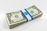 Pack of one dollar bills with $100 paper currency strap. - 227376176