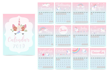 Cute rainbow monthly calendar 2019 with unicorn,head,star,heart and rainbow.Can be used for web,banner,poster,label and printable