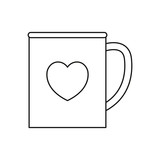 coffee cup love heart on white background
